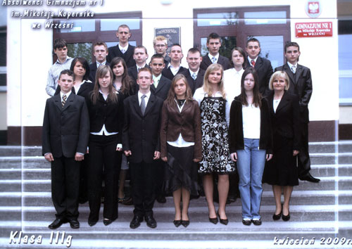 Absolwenci rocznik 2009 klasa G